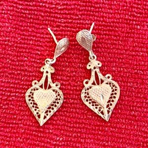 Delicate sterling heart drop earrings